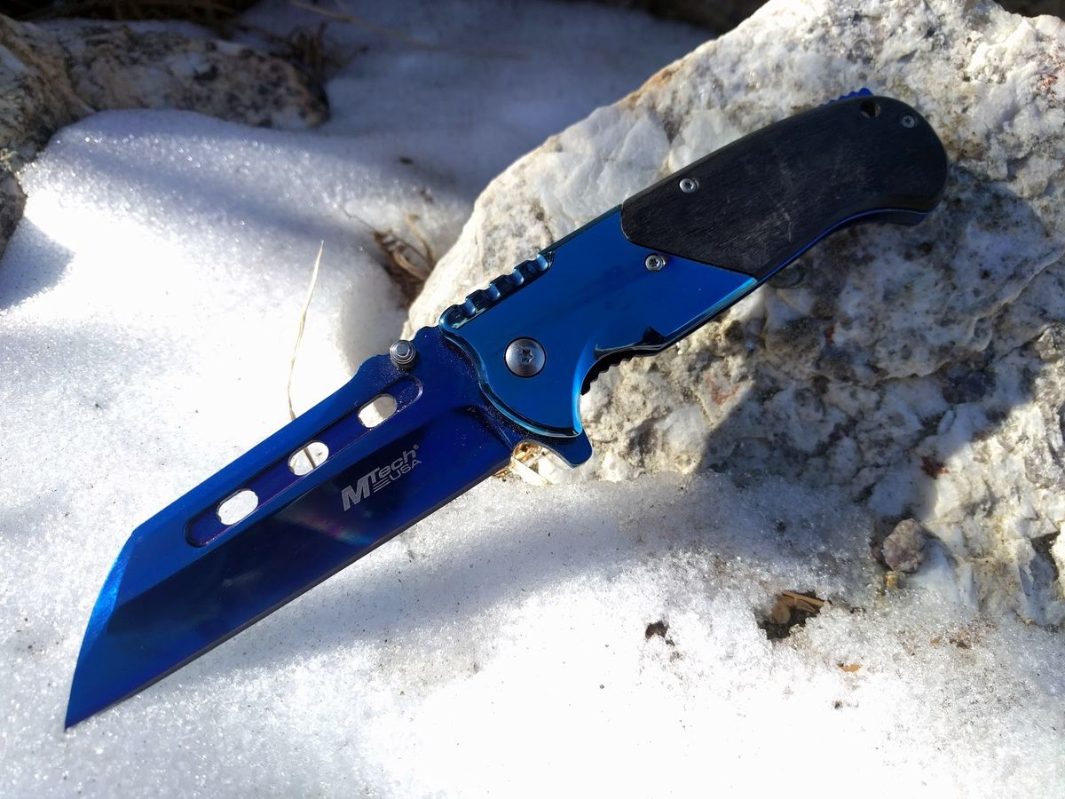 Spring-Assist Folding Knife Mtech Blue Titanium Sheepsfoot Blade Cleaver Black